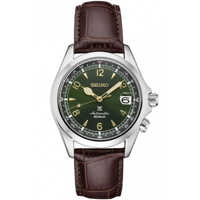 Seiko - Prospex 39.5 mm Automatic Green & leather strap SPB121J1