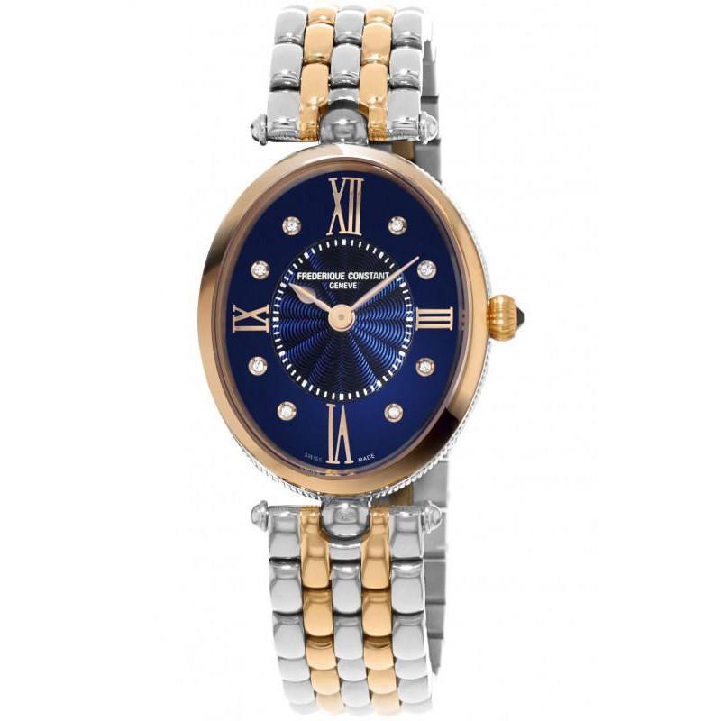 Frederique Constant - Classics Art Deco Oval Diamond Index Blue & Rose gold FC-200RMPN2V2B
