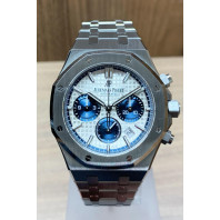 "PRE-OWNED Audemars Piguet Royal Oak Kronograf 38mm Vit Urtavla & Blå ""Subdials"" 