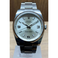 PRE-OWNED Rolex Oyster Perpetual Silver & Stållänk 114200