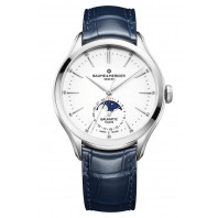 Baume & Mercier - Clifton Baumatic Moon Phase White & Leather Strap M0A10549