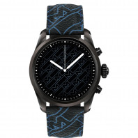 Montblanc - Summit 2 Smartwatch Stainless Steel Black & Montblanc Pattern Blue MB128127