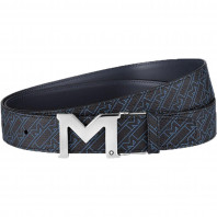 Montblanc - M Buckle Palladium Finish Belt Blue MB127699