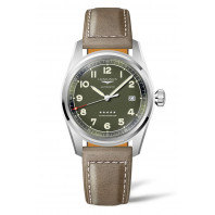Longines Spirit - 40 mm Green Dial & Brown Leather Strap L3.810.4.03.2