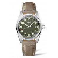Longines Spirit - 42 mm Grön Urtavla & Brunt Läderband L3.811.4.03.2