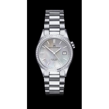 Sjöö Sandström - Royal Steel Classic 36 mm Diamant Bezel Pärlemor Urtavla & Stållänk 020906