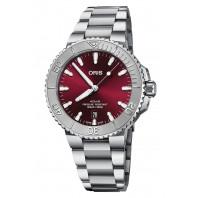 Oris - Aquis Date Relief 41.5 mm Red Dial & Steel Bracelet 01 733 7766 4158-07 8 22 05PEB