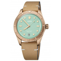 Oris - Divers Sixty-Five Cotton Candy 38 mm Green Dial & Leather Strap 01 733 7771 3157-07 5 19 04BR