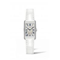 Longines - DolceVita Diamant Silver Urtavla & Vitt Läderband L5.255.0.71.2