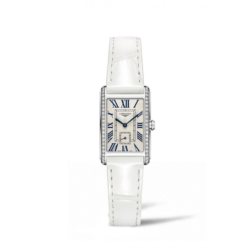 Longines - DolceVita Diamond Silver Dial & White Leather Strap L5.255.0.71.2