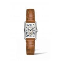Longines - DolceVita Diamant Silver Urtavla & Brunt Läderband L5.255.0.71.4