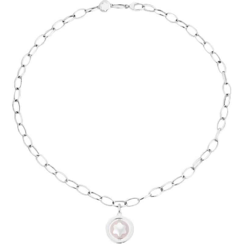 Montblanc - Star Signet Necklace Silver Pink Lacquer MB126672