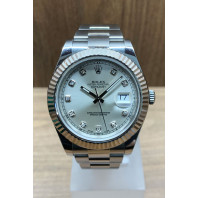 PRE-OWNED Rolex Datejust II 41mm Steel Silver & Diamond Dial 116334