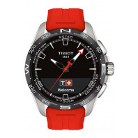 Tissot - T-Touch Connect Solar Black Dial & Red Rubber Strap T1214204705101