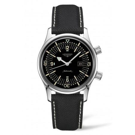 Longines - Legend Diver 42mm Black & Leather Strap L3.774.4.50.0