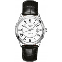 Longines - Flagship 38,5mm White Dial & Black Leather Strap L4.974.4.21.2