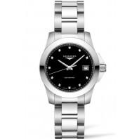 Longines - Conquest Quartz Black & Diamonds Ladies Watch Steel L33774576
