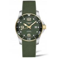 Longines - HydroConquest 41 mm Green & Gold PVD, Rubber Strap L3.781.3.06.9