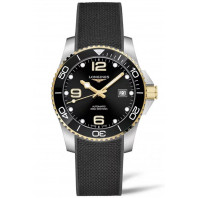 Longines - HydroConquest 41mm Black & Gold PVD, Rubber Strap L3.781.3.56.9
