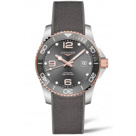 Longines - HydroConquest 41 mm Grey & Rose Gold PVD, Rubber Strap L3.781.3.78.9
