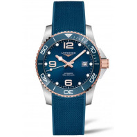 Longines - HydroConquest 41 mm Blue & Rose Gold PVD, Rubber Strap L3.781.3.98.9