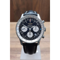 PRE-OWNED Breitling Navitimer Chronograph Black & Leather Strap A23322