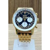 PRE-OWNED Breitling Navitimer Chronograph Black Gold & Goldbracelet K23322