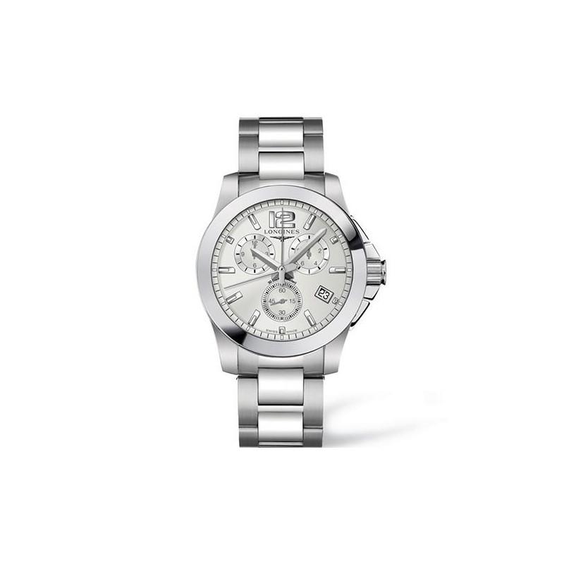 Longines - Conquest Quartz Chronograf Silver Stållänk Herrklocka