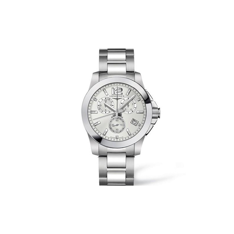 Longines - Conquest Quartz Chronograph Silver Steel Bracelet Gent's Watch