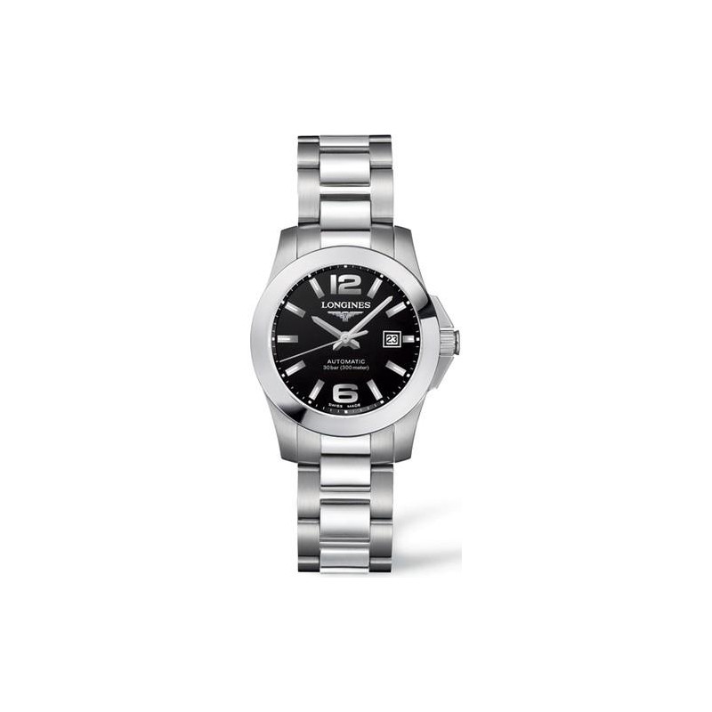 Longines - Conquest Black Steel Lady's Watch
