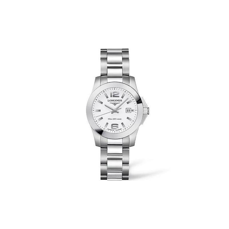 Longines - Conquest Quartz White Steel Lady's Watch