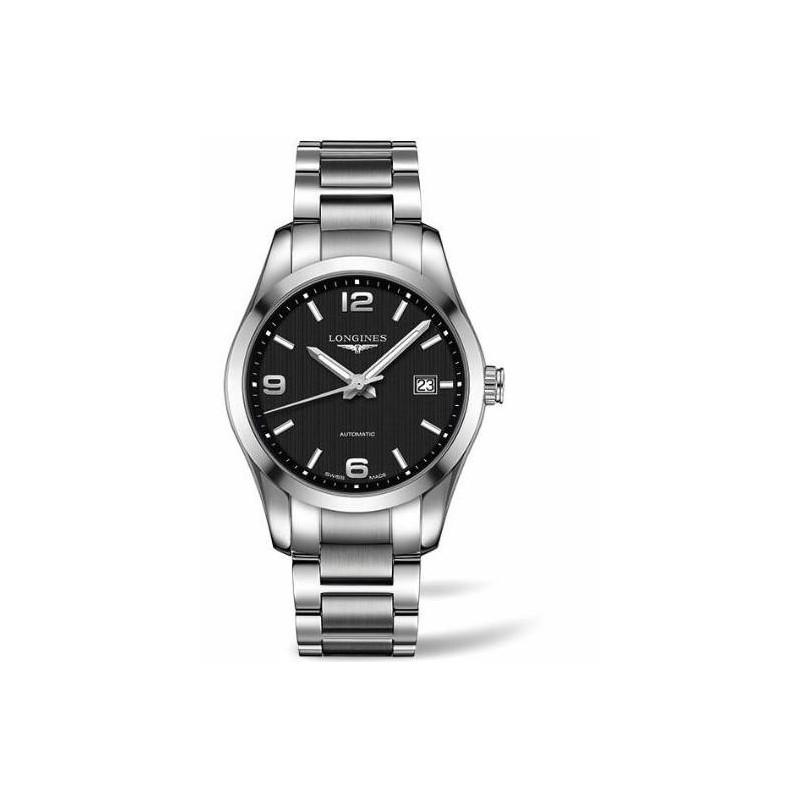 Longines - Conquest  Classic Black Steel Gent's Watch