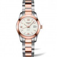 Longines - Conquest Classic White Steel & Rose Gold Ladie's Watch