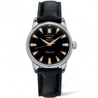 Longines - Conquest Heritage black & leather strap L16114522