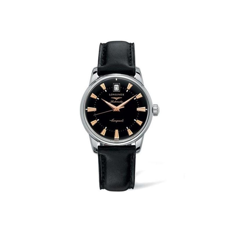 Longines - Conquest Heritage black & leather strap L16114522