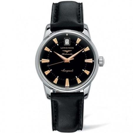 Longines - Conquest Heritage svart & läderband L16114522
