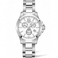 Longines - Conquest Chronograph Quartz White Steel Lady's Watch