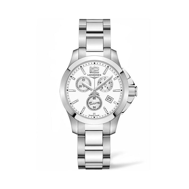 Longines - Conquest Chronograph Quartz White Steel Lady's Watch