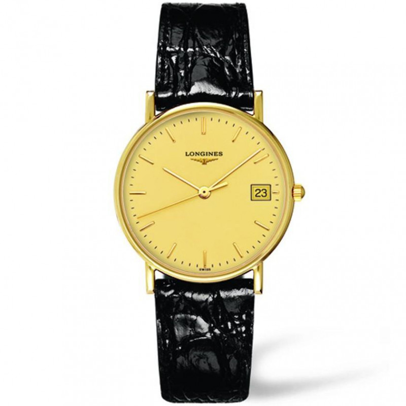 Longines - Presence 34mm gold 18K case yellow dial and leather strap L47776320