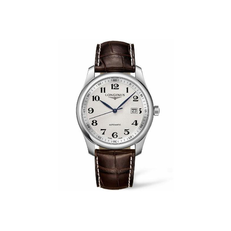 Longines - Master 40 mm silver & leather strap