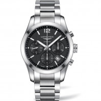 Longines Conquest  Classic Chronograph Black Steel Gent's Watch