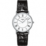 Longines  Presence 38.5mm Quartz White Steel Leatherstrap Lady's