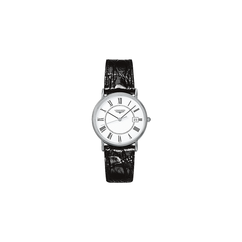 Longines Presence 38.5mm Quartzwhite dial and roman numeral and leather strap L47904112