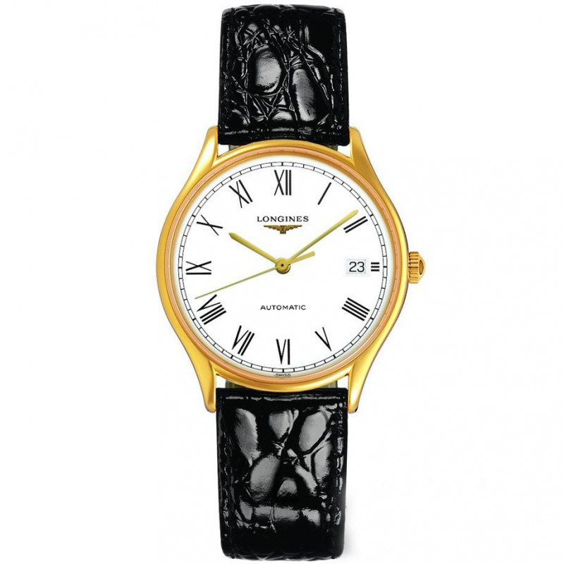 Longines Lyre 35mm Automatic White Gold PVD Leatherstrap