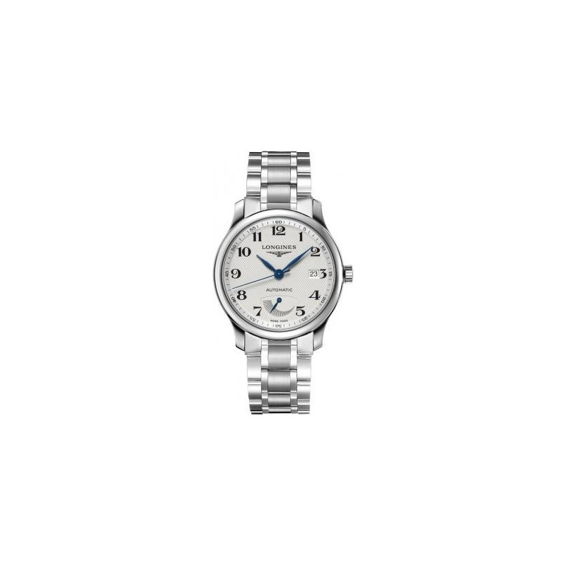 Longines - Master men's watch with white dial, power reserve and steel bracelet L27084786