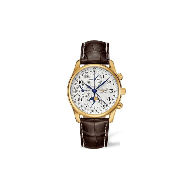 Longines Master men's watch with white dial,18k case, moon phase and alligator leather strap. L26738783