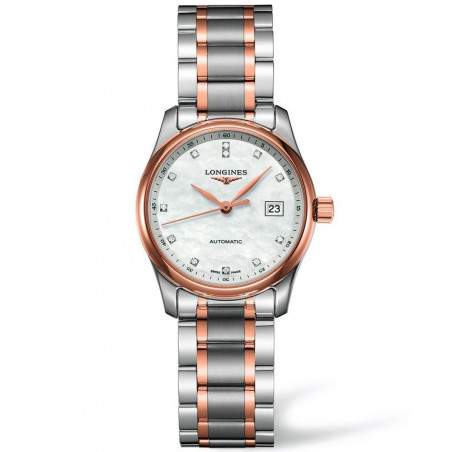 Longines Master women's watch mother of pearl with diamonds dial and steel bracelet with rose gold L22575897