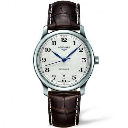Longines - Master Gent's 38.5 mm silver dial and leather strap L26284783