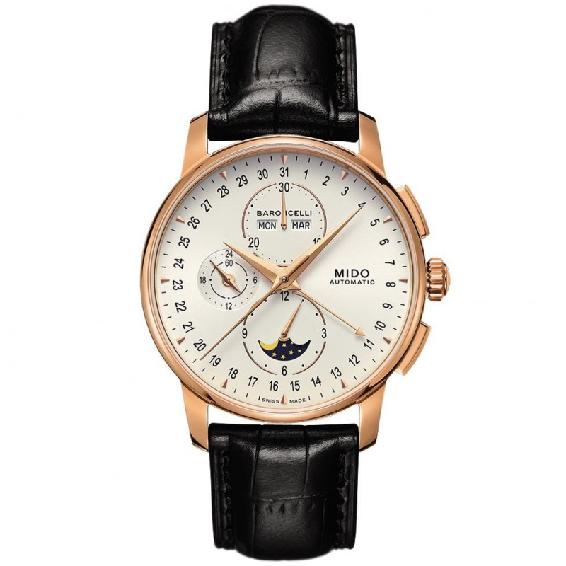 MIDO Baroncelli Automatic men's Watch with chronograph and moonphase functions. M86073M142