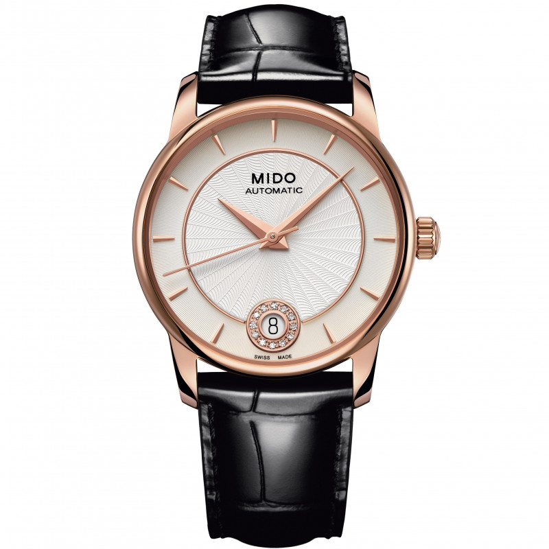 MIDO Baroncelli - Automatic White Rose Gold PVD Diamonds Leatherstrap Lady's